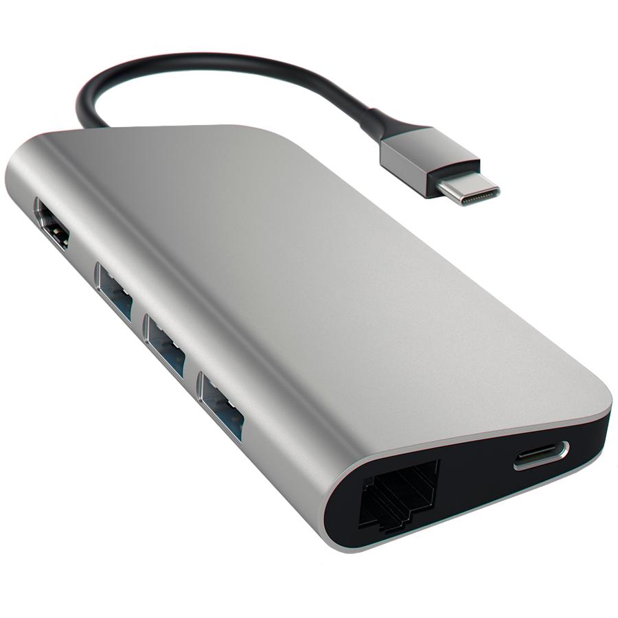 Многопортовый адаптер SATECHI USB-C Aluminum 4K с Ethernet  - купить со скидкой